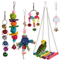 6pcs Bird Ladder Swing Toys Play Set fun Colorful Hanging Bells for Bird Cages