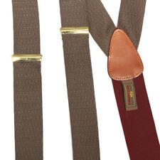 TRAFALGAR Dapper Gentlemans Olive Green Burgundy Silk Suspenders Braces
