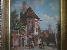 E.W. Cook signed Eurpean Street Scene oil painting on board framed EC RARE!