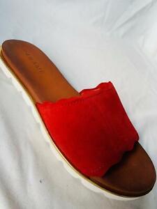 PANAME Damen-Pantolette Veloursleder goldfarbenes Detail Gr.36 rot dos21