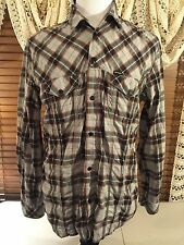 Mens DIESEL INDUSTRY XL Extra Large L/S Twin Pocket Multi Color Flip Cuff Shirt