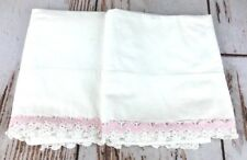 Vtg Truth Muslin Pacific Crocheted Pillowcase Pair Set Pink White Zigzag USA