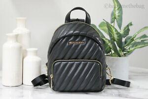Michael Kors Erin Small Black & Gold Vegan Leather Convertible Bag Backpack