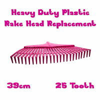 Lawn & Leaf Plastic Rake Head Heavy Duty Replacement ❀ 39cm Wide ❀ 25 Tooth ❀ EU