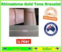 Rhinestone Diamante Bracelet Chain Gold Tone Fashion Jewellery NEW