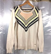 Volcom Sweater Womens Size XL Color Block Striped Pullover Long Sleeve Crew Neck
