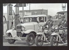 REAL PHOTO VENICE CALIFORNIA MOTORCYCLE POLICE OLD CARS POSTCARD COPY GAS
