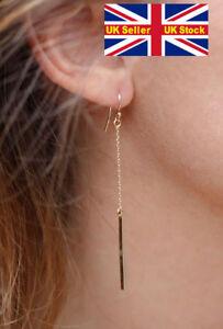 Long gold Dangle Drop Earrings Goth Punk Rock Chick