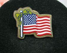 Vintage AMERICAN FLAG Brooch  Pin USA Pinback Red, White & Blue Yellow Ribbon