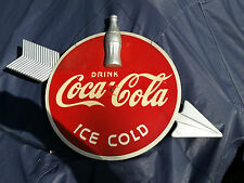 Vintage  Antique 1930's Coca Cola DRINK ICE COLD SIGN with Bottle &  Arrow coke