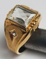 VINTAGE CLARK AND COMBS 10K GOLD FILLED MEN'S DIAMOND RING SIZE: 10 NOS