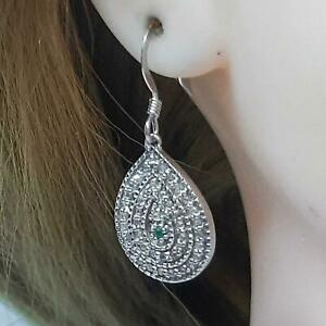 Genuine 1.04ctw Colombian Emerald & H-SI Diamond 925 Sterling Silver Earrings