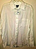 Mens X 46 48 Shirt White Linen Rayon Blend long sleeve button up collar 1 pocke