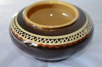 Art Pottery Bowl Studio Hand Thrown Stoneware Native Pattern Brown Vase Pot