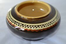 New listing Art Pottery Bowl Studio Hand Thrown Stoneware Native Pattern Brown Vase Pot