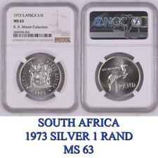 1973 South Africa SILVER 1 rand MS 63 NGC  R1 UNCIRCULATED BU RAM PEDIGREE