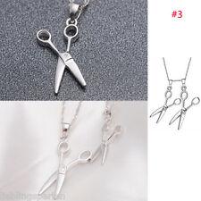 FL 1 Versilbert Halskette Halsschmuck mit Schere Anhänger Modeschmuck 44cm NEU