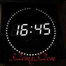 LED Horloge murale Date Température et DWS Rond Affichage des secondes LED BLANC