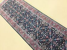 """2'.6"""" X 7'.10"""" Navy Blue Rose Farahan Persian Oriental Rug Runner Hand Knotted"""