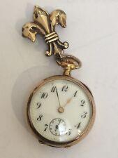 ANTIQUE ART NOUVEAU SWISS SOLID 14K GOLD LADIES LAPEL / PENDANT WATCH 1800's