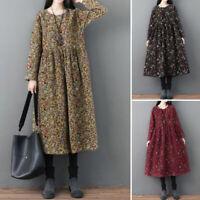 Mode Femme Robe à Imprimé Floral Manche Longue Casual en vrac Party Dresse Plus