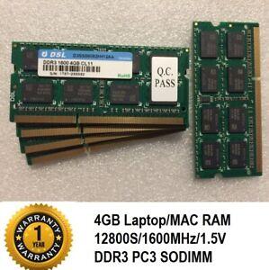Laptop Notebook MAC RAM SODIMM 204 Pin PC3 DDR3 12800s 1600MHz  CL11 1.5V DSL