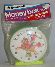 Vintage Benkson Moneybox Clock With Moveable Hands Still in Original Sealed Bag