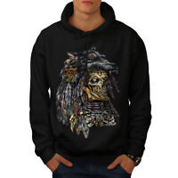Wellcoda Wolf Metal Death Skull Mens Hoodie, Skull Casual Hooded Sweatshirt