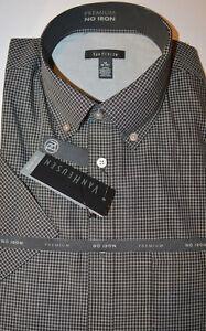 Men's Van Heusen Black Plaid Short Sleeve Premium Shirt Size Small (14-14.5)