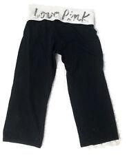 Victoria Secret Black White Sequin Bling LOVE PINK Yoga Cropped Pants Sz Medium
