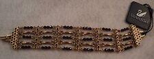 Signed Swan Swarovski Plum Colored Crystal Matt Gold Plated Bracelet SALE  SALE