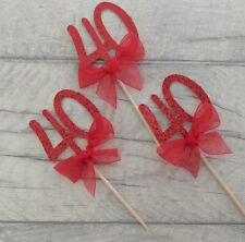 12 Ruby Wedding Anniversary glitter cupcake toppers 40 years party celebration