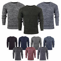 Mens Jumper by Brave Soul 'Neutron' Thick Knit Sweater Crew Neck Chunky Pullover