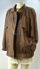EXPRESS Compagnie Internationale Leather Aviator Coat zip Jacket Bomber SZ L VTG