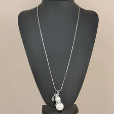 Women Long Sweater Necklace Cute Snowman White Pearl Pendant Elegant Jewelry