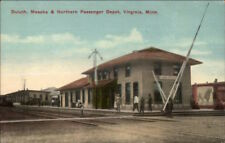 Virginia MN Duluth Mesaba & NP RR Train Depot Station c1910 Postcard