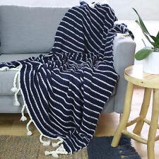 Blue & Cream Large Striped Throw Blanket Woven Picnic Rug Tassels