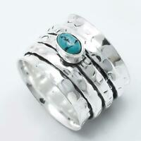925 Sterling Silver Turquoise spinning ring, Spinner ring anxiety Band ring d41