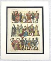 1895 Antico Stampa 16th Secolo Inglese Costume Nobility Royalty Abito Moda