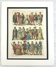 1895 Antique Print 16th Century English Costume Nobility Royalty Dress Fashion