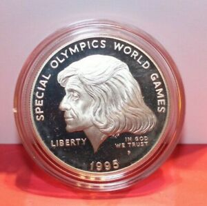 1995 P Special Olympics World Games Proof 90% Silver Dollar US Mint box/coa