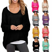 Womens Slouchy Knitted Sweater Batwing Sleeve Pullover Blouse Baggy Jumper Tops