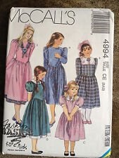 McCall's Pattern 4994 Girl's / Toddler's Dress Size CE (3,4,5)
