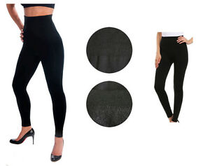 Womens Free SIZE HIGH WAISTED FOOTLESS Fleece Lined BLACK LEGGING Plus #TX701X