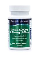 Ginkgo Biloba 3000mg & Korean Ginseng 1000mg * 120 Tablets * Improved Formula