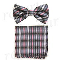 New Men's Pre-tied Bow tie & hankie gray pink stripes striped wedding formal