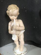 WALLENDORF 1794 PORCELAIN BOY ANGEL MUSICIAN FIGURINE