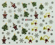 Navidad Nail Art Pegatinas Calcomanías Copos De Nieve Santa árboles campanas E36