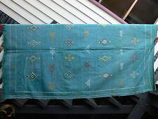 Turquoise Moroccan Handmade Berber Sabra Silk & Cotton Kilim 190x109cm
