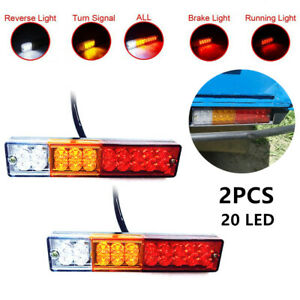 12V 20LED Car Trucks Trailer Tail Lights Turn Signal Reverse Brake Rear Lamp L&R
